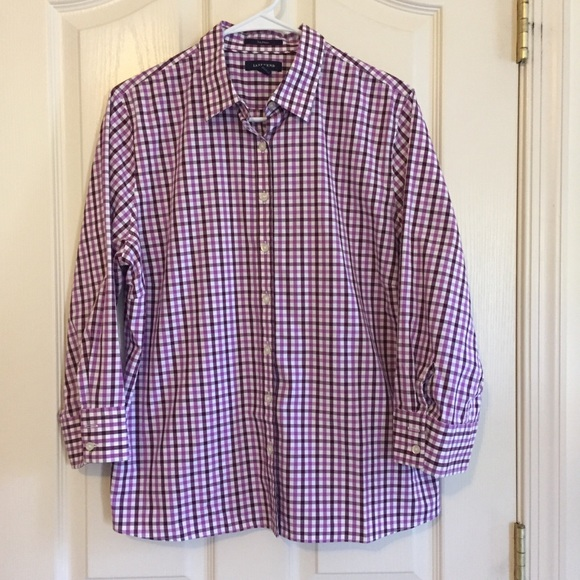 Lands' End No Iron Purple Plaid Shirt